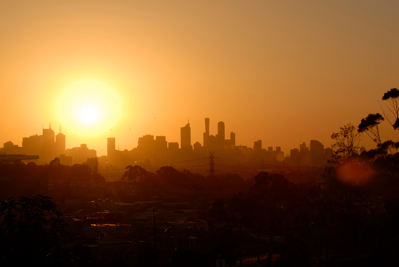 Early Morning in Melbourne, Australia (landscape)The dots on the horizon are hot air balloons.